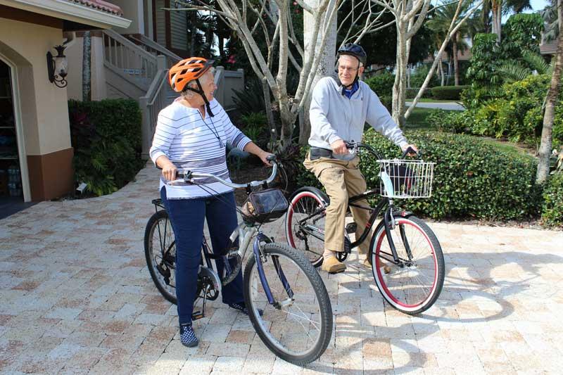 The Feingolds enjoy biking in their Sanibel Island community
